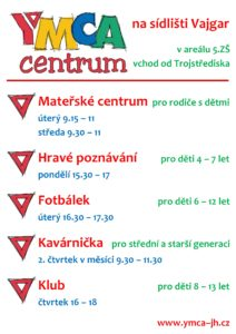 YMCA centrum - týdenní program 2016-17